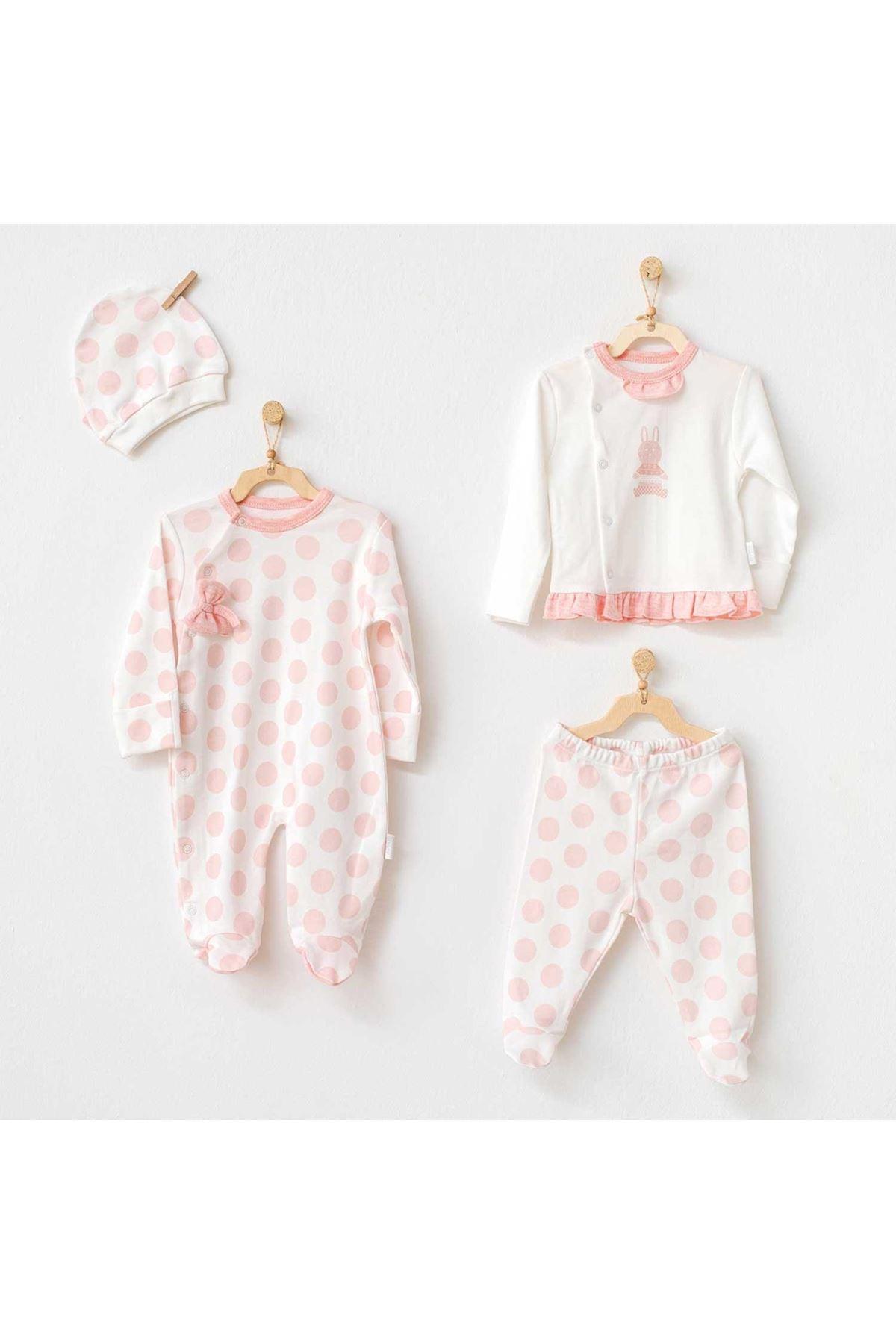 Andywawa AC21134 Polka Dot 4lü Bebek Hastane Çıkışı Tulum Set Pink
