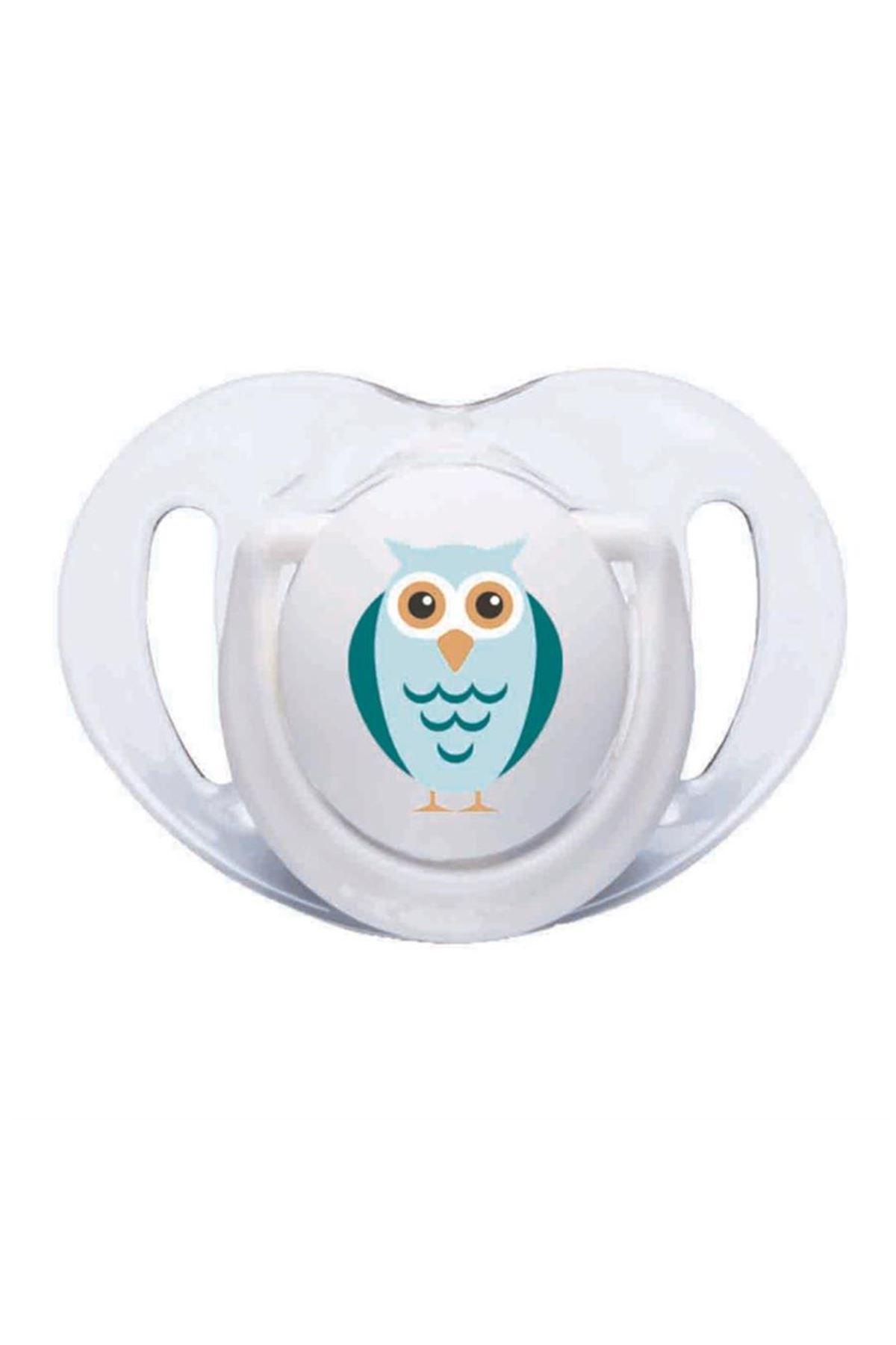Mamajoo Silikon Ortodontik İkili Emzik Beyaz Baykuş / 6 ay +