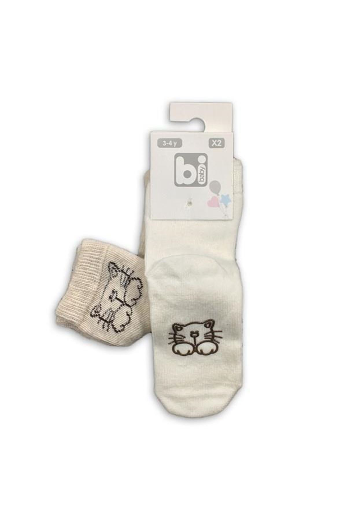 Bibaby Zoo Kaymaz Çorap 2Lİ 68263 Kedi