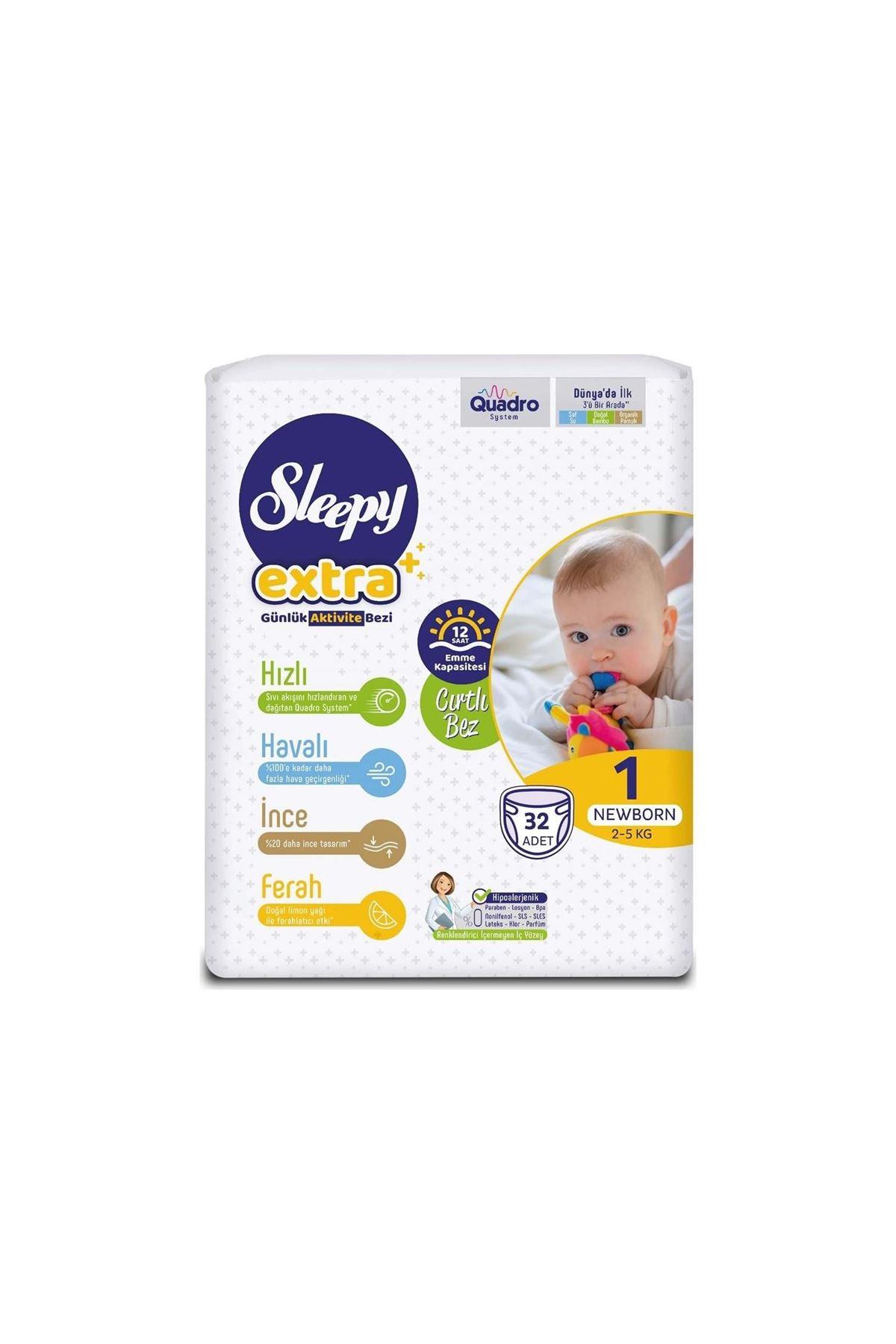 Sleepy Extra Günlük Aktivite Bebek Bezi 1 Beden 2-5 Kg 32 Adet