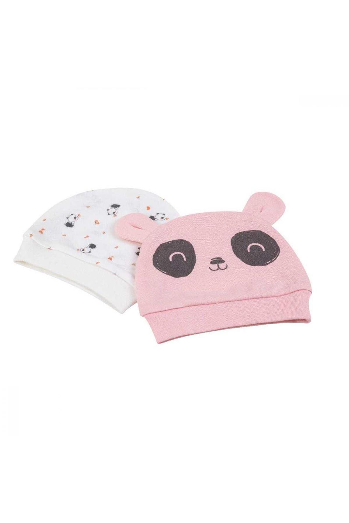 Bibaby Bi Organik Elegant Panda Şapka 2Lİ 72116 Ekru