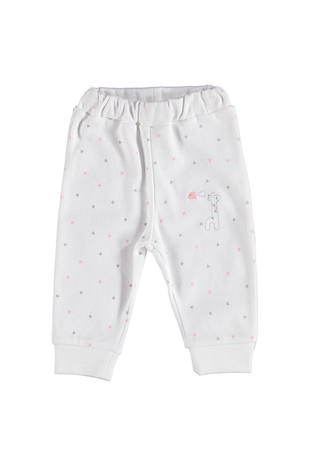 Bibaby Bi Organik Baby Gıraffe Patiksiz Pantolon 57495 Ekru Pembe