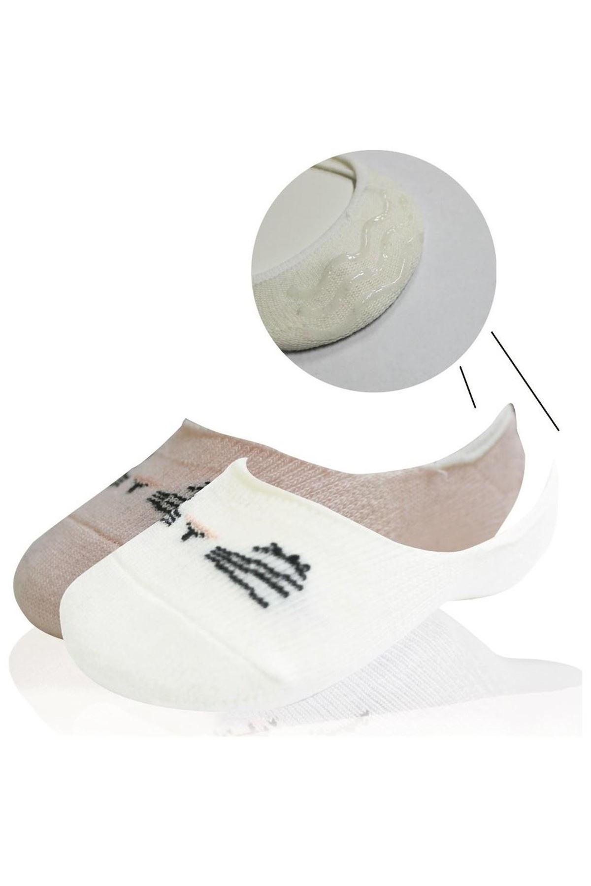 Bibaby Cute Face Kız Babet Çorap 2Lİ Pembe-Beyaz