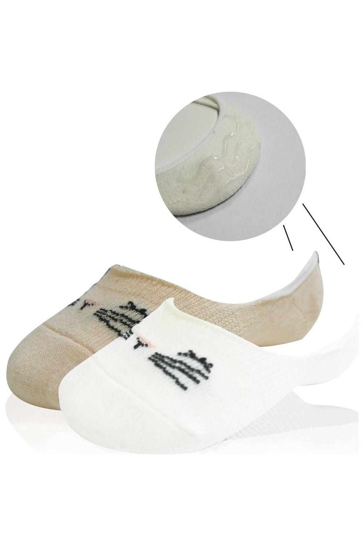 Bibaby Cute Face Kız Babet Çorap 2Lİ Somon Beyaz