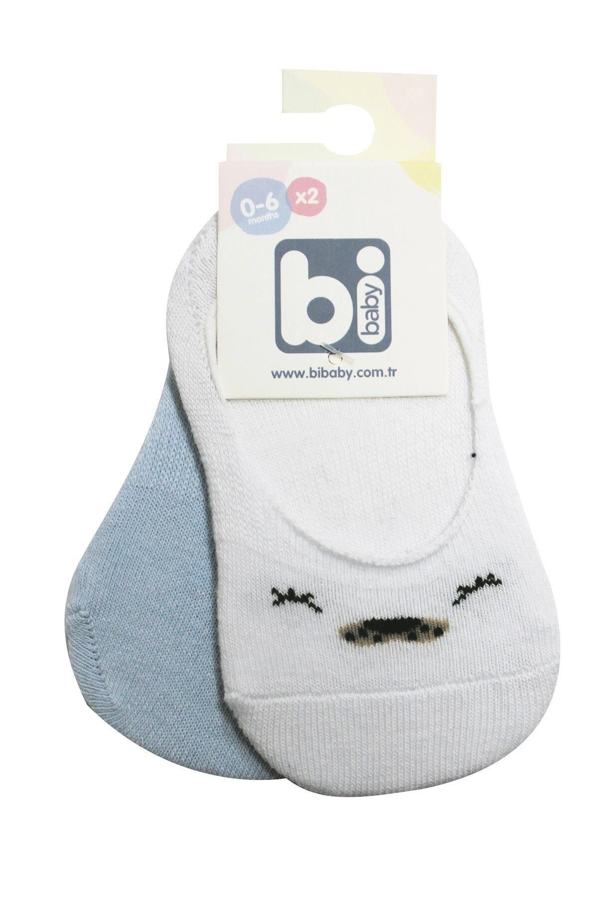 Bibaby Cute Face Erkek Babet Çorap 2Lİ 68353 Mavi-Beyaz
