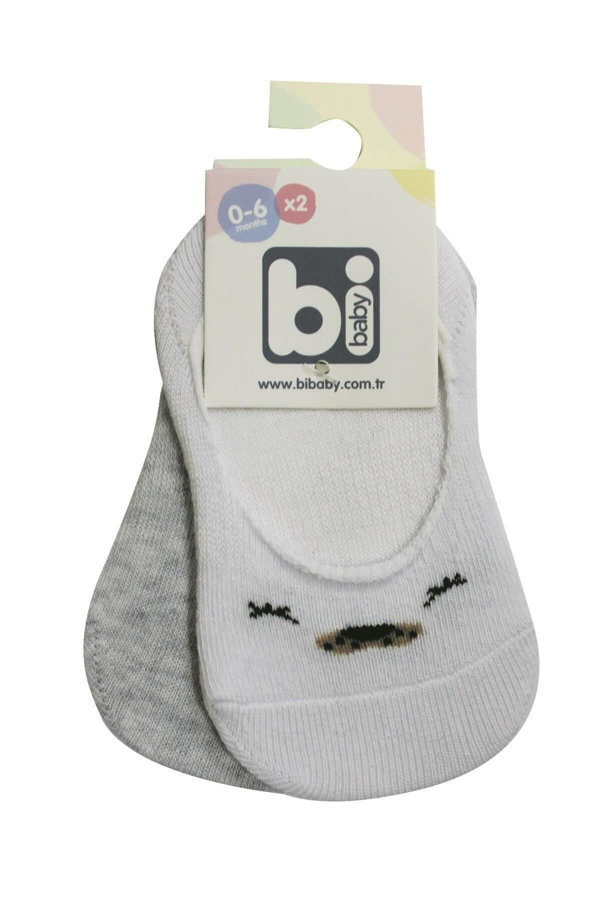 Bibaby Cute Face Erkek Babet Çorap 2Lİ 68353 Gri Beyaz