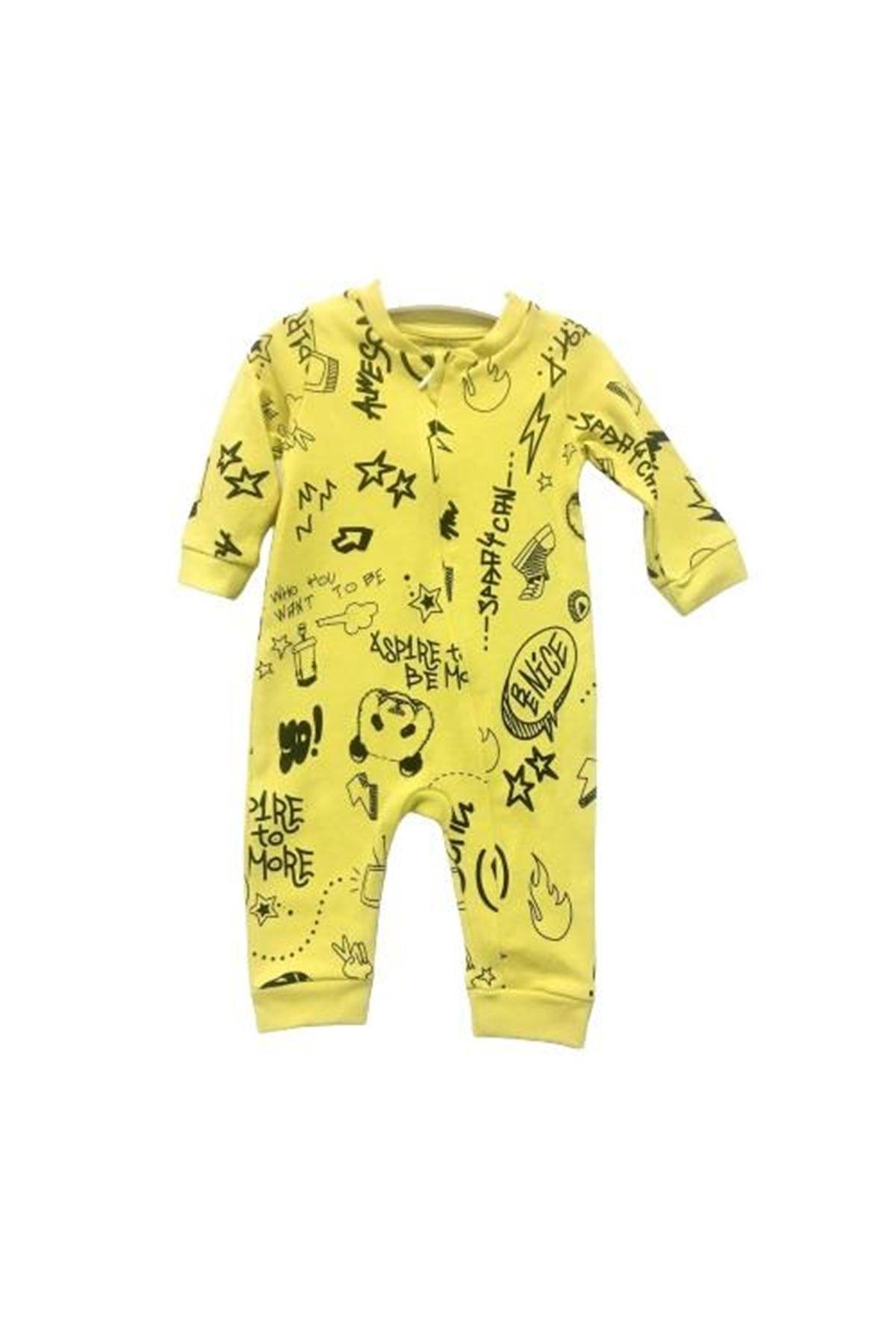Tongs Baby Fermuarlı Bebe Tulum 3605 Sarı