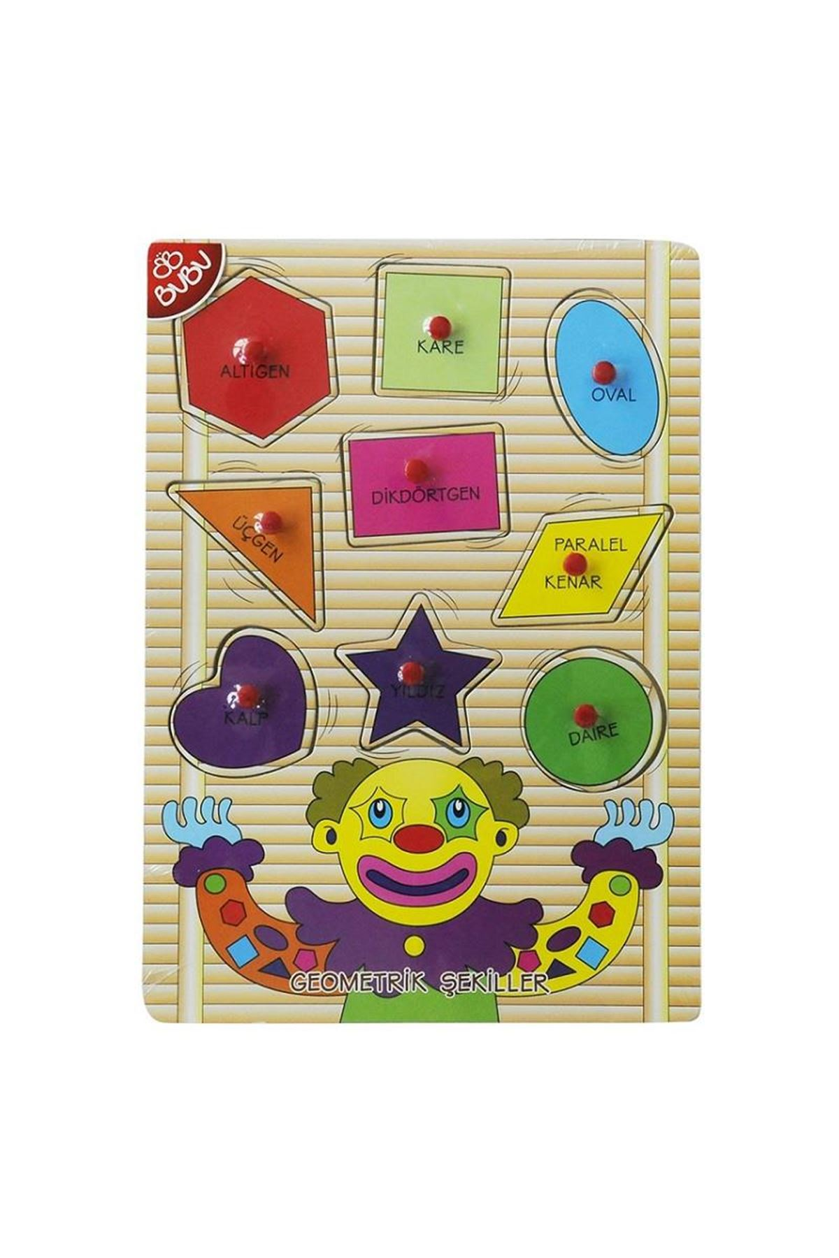 Bu-Bu Ahşap Puzzle Palyaço Geometrik Şekiller 0069