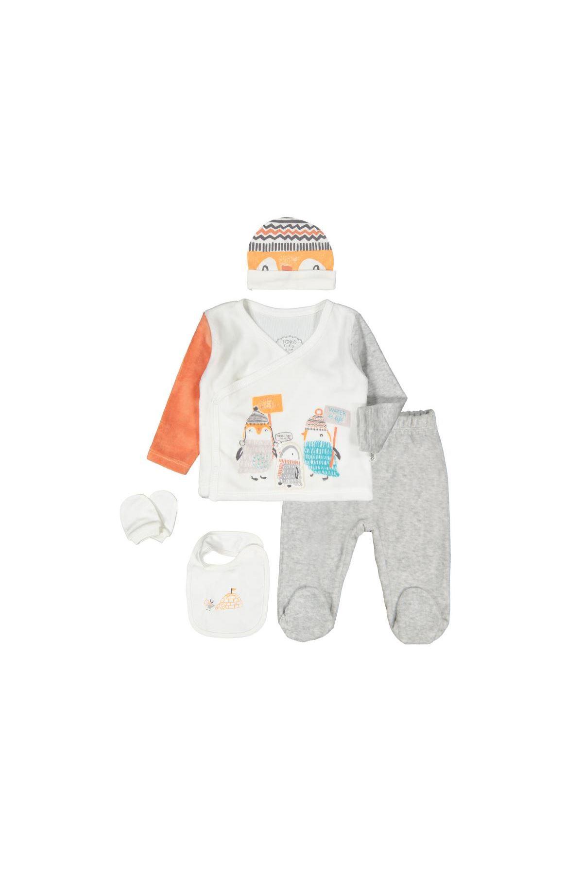 Tongs Baby Penguın Family Zıbın Takım 4025 oranj