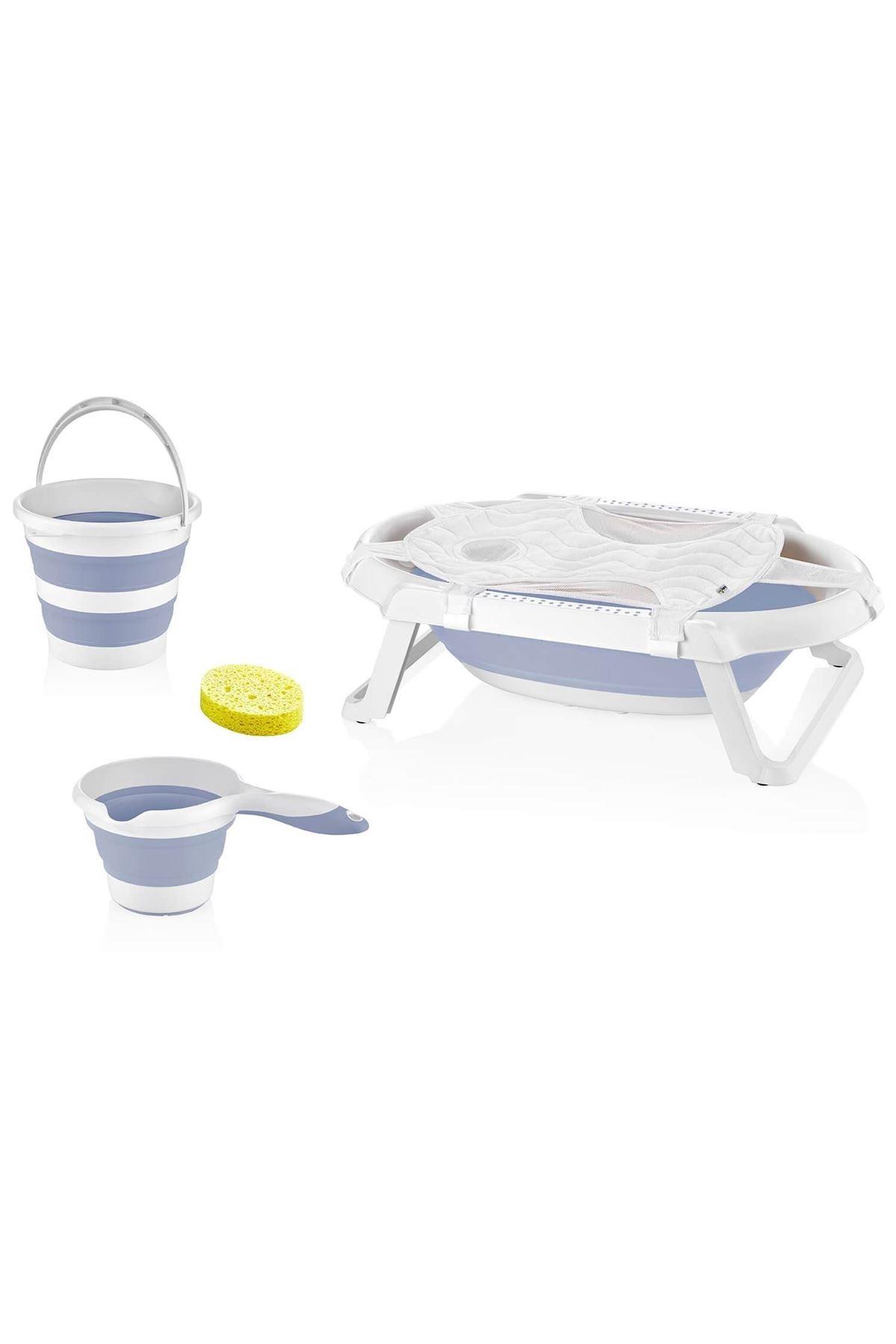 BabyJem Katlanabilen Bebek Banyo Küvet Seti 596 Mavi