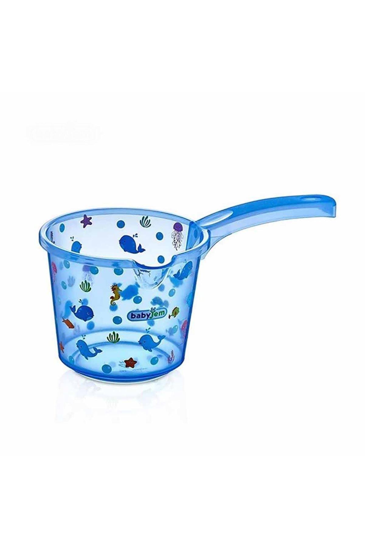BabyJem Bebek Banyo Maşrapası Şeffaf Desenli 400 Mavi