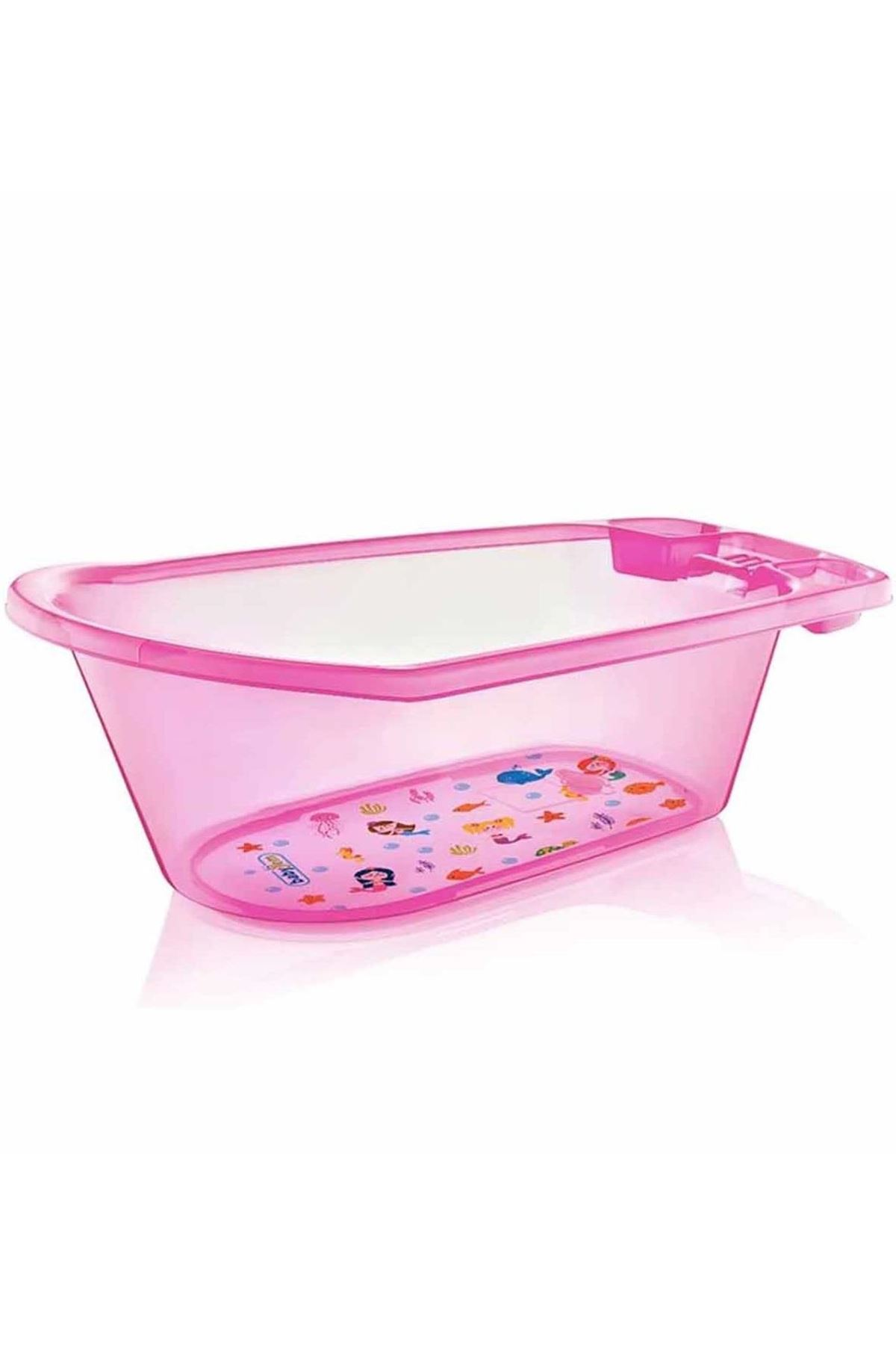 BabyJem Bebek Banyo Küveti Şeffaf Desenli 001 Pembe