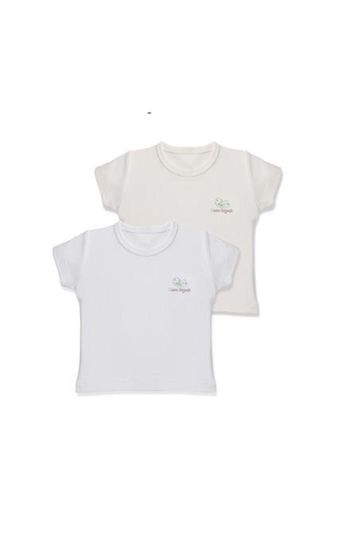 Baby Cosy Organic 2Li Bebek T-şhirt 3008 White Ekru