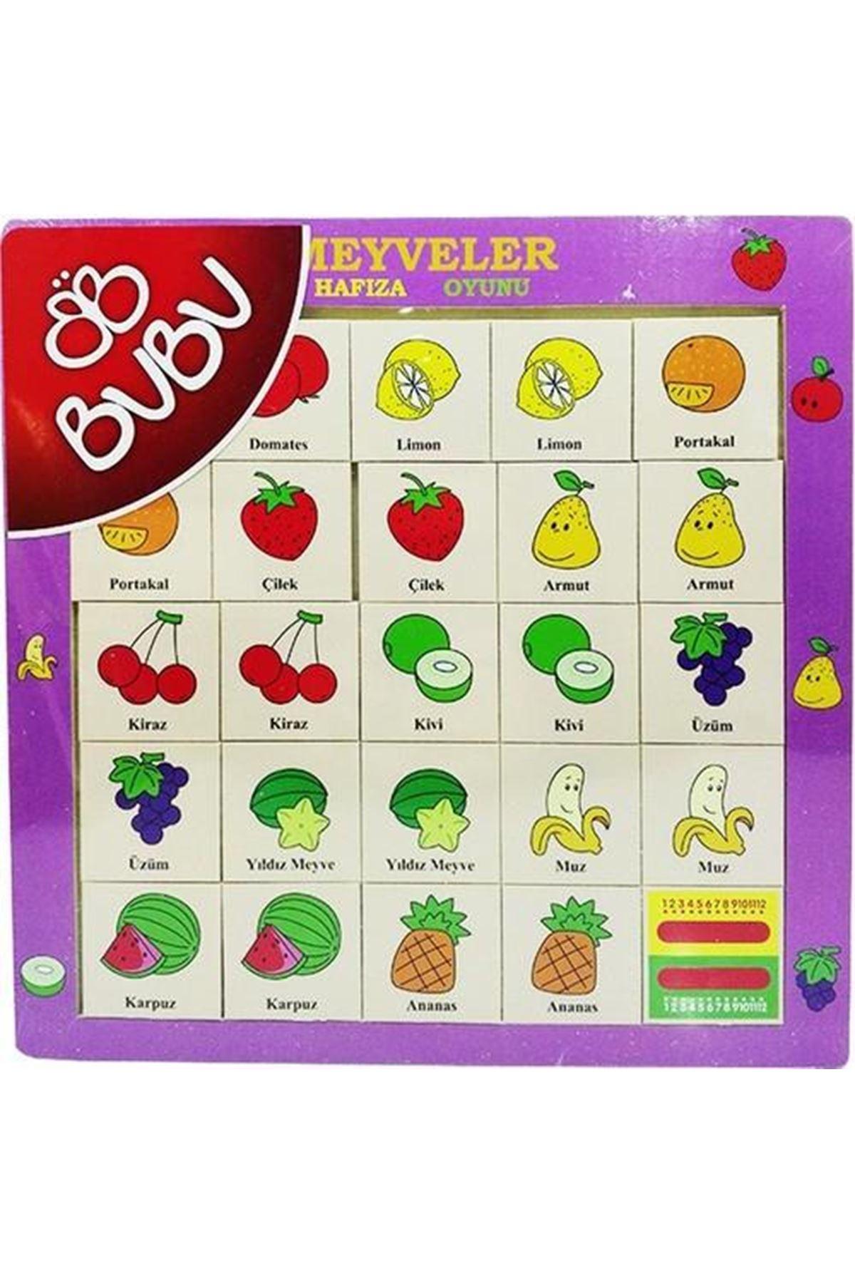 Bu-Bu Ahşap Puzzle Meyveler Hafıza Oyunu 30x30 CM 0063