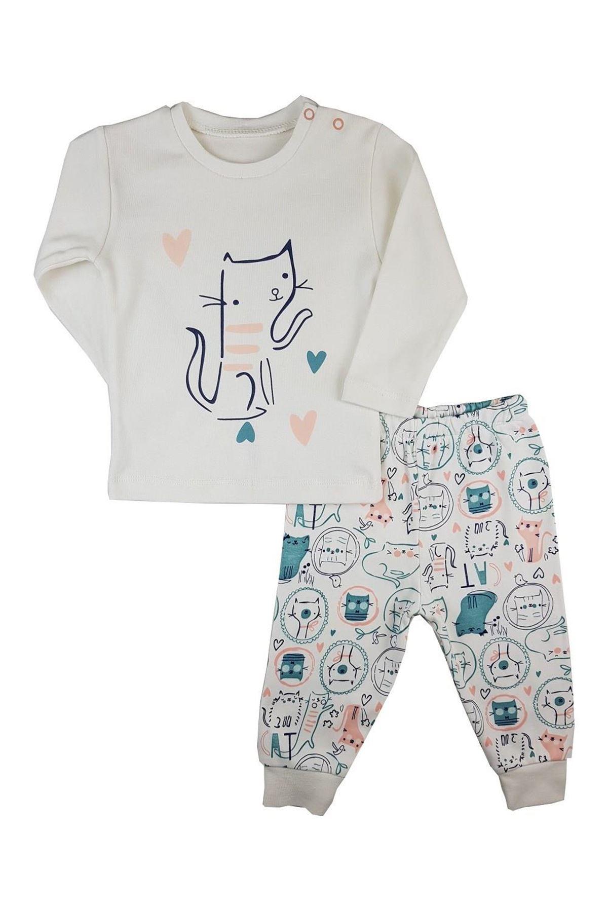 Luggi Baby Cute Cat Bebek Pijama Takım LG-6421 Karışık Renkli