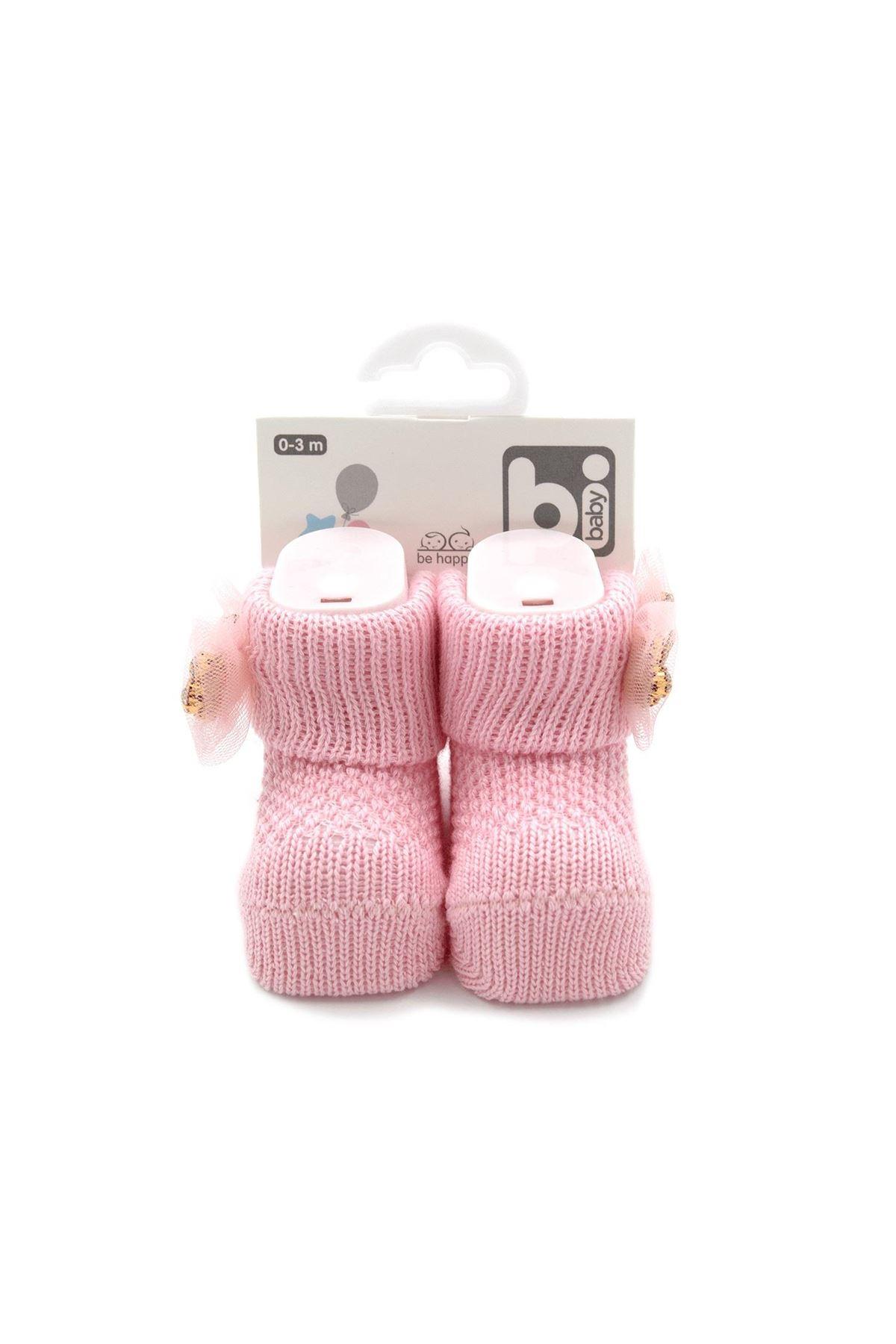 Bibaby Fiyonklu Bebek Çorap 68301 İnci Pembe