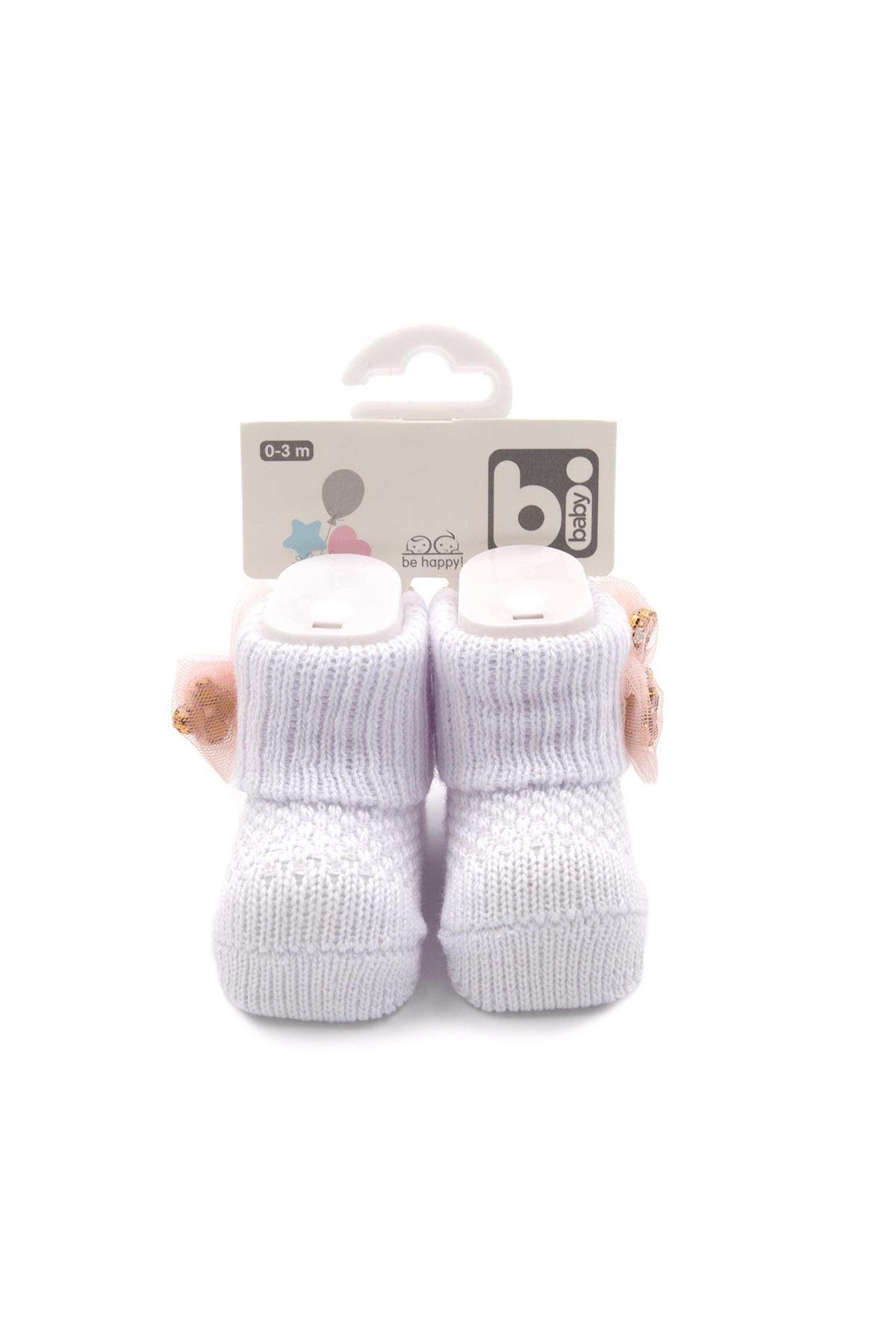 Bibaby Fiyonklu Bebek Çorap 68301 İnci Beyazı