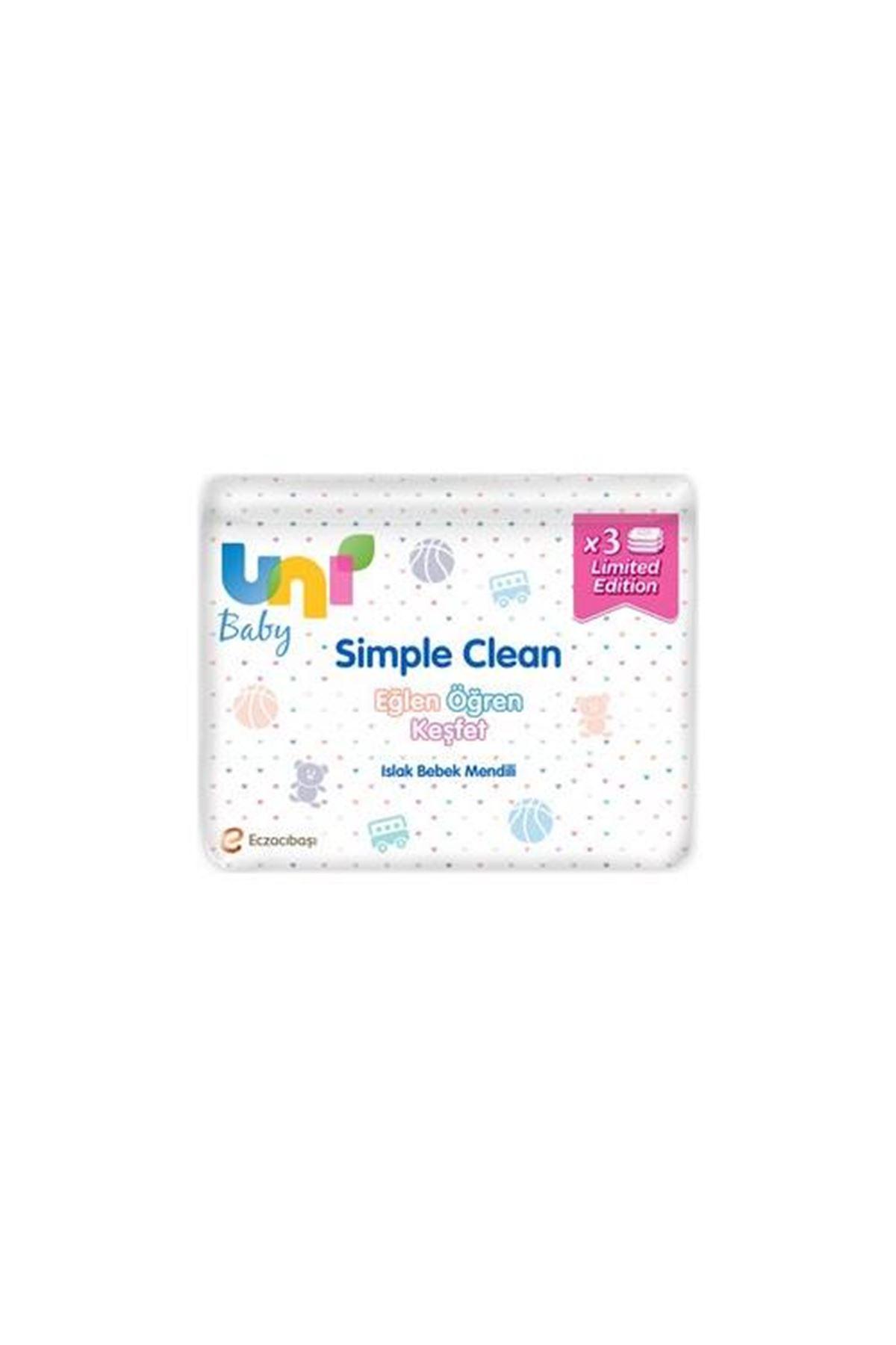 Uni Baby Simple Clean Islak Havlu Mendil 3'lü