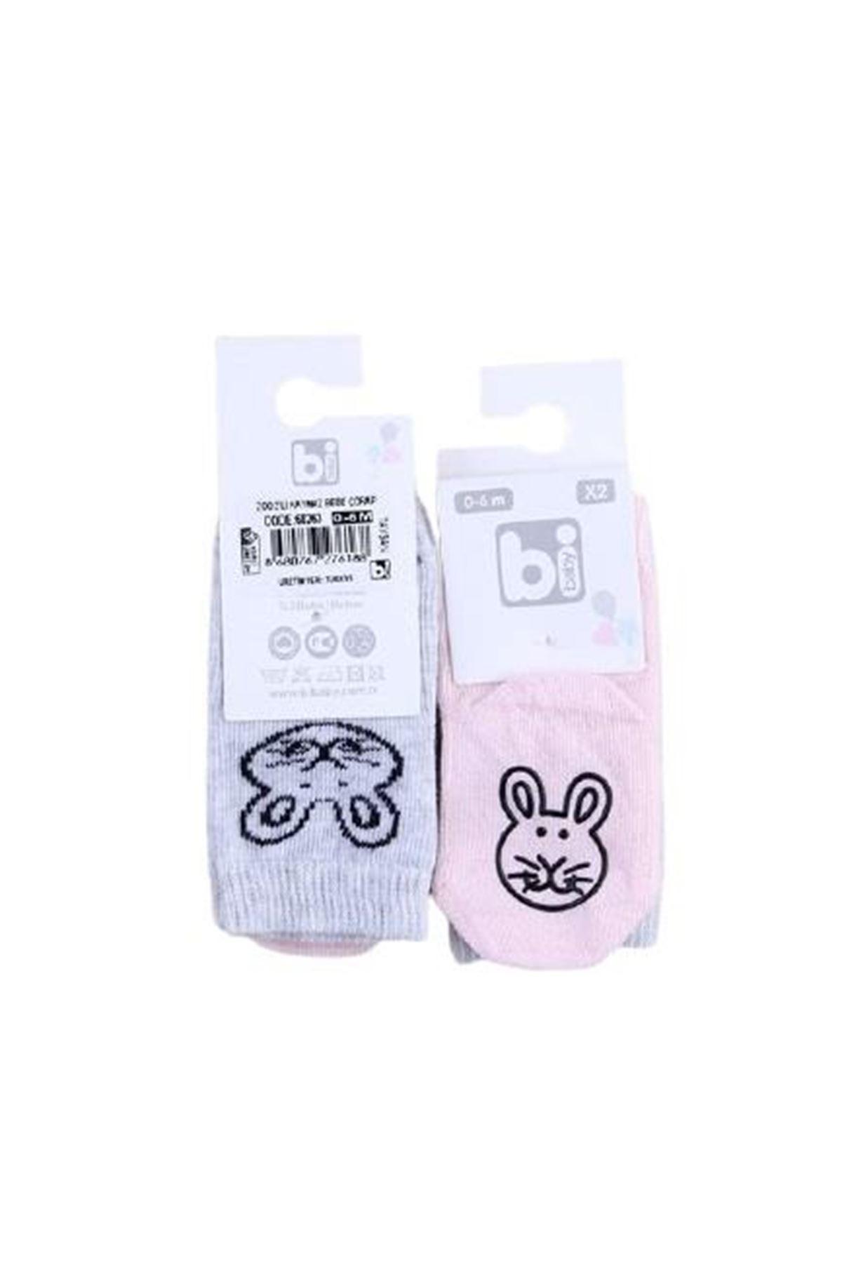 Bibaby Zoo Kaymaz Çorap 2Lİ 68263 Tavşan