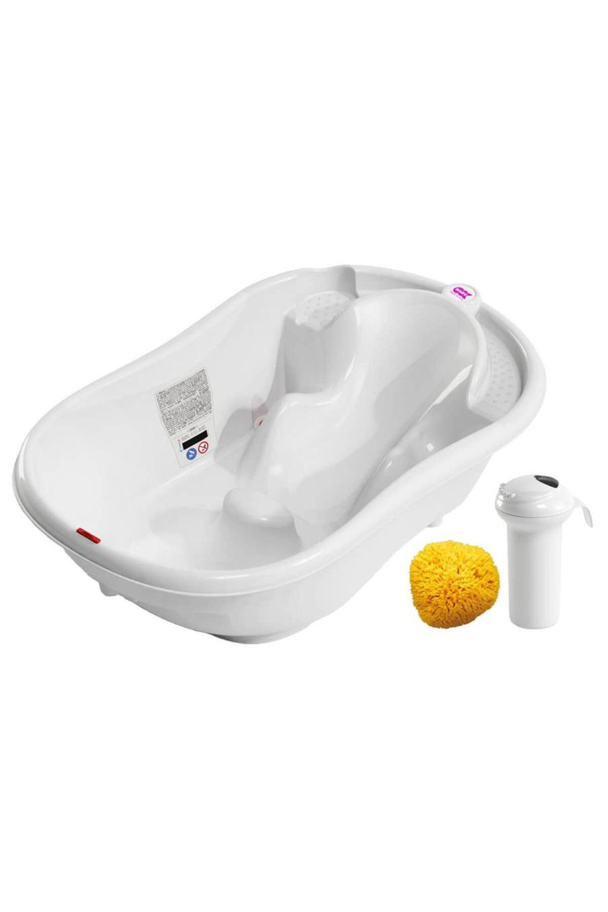 OkBaby Onda Evol Banyo Küveti & Splash Bebek Duşu & Doğal Banyo Süngeri No.10 / Beyaz