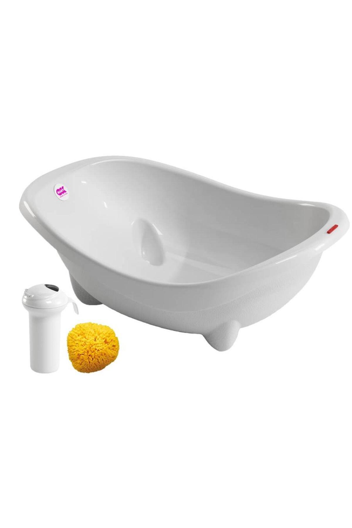 OkBaby Laguna Banyo Küveti & Splash Bebek Duşu & Doğal Banyo Süngeri No.10 / Beyaz