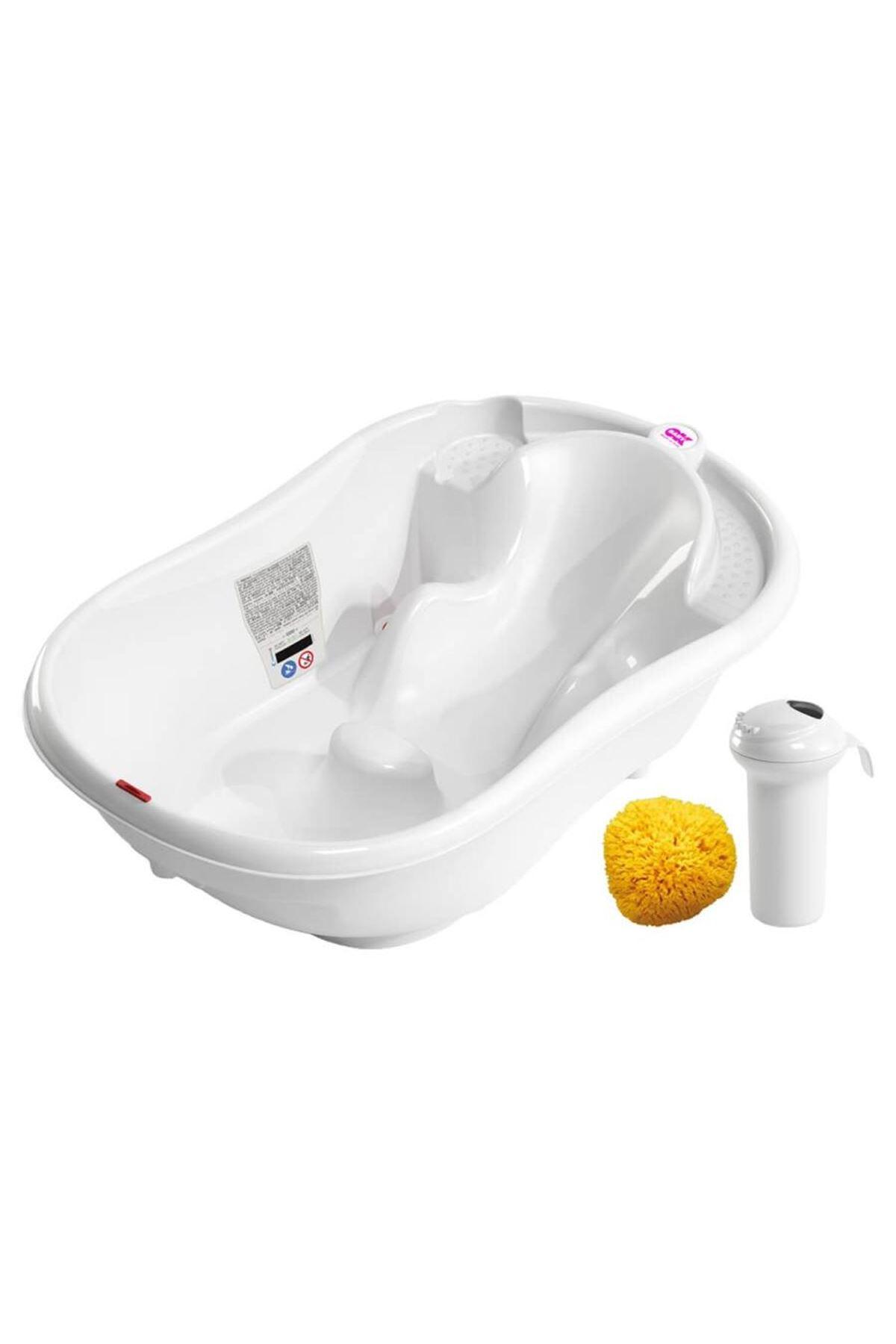 OkBaby Onda Banyo Küveti & Splash Bebek Duşu & Doğal Banyo Süngeri No.10 / Beyaz