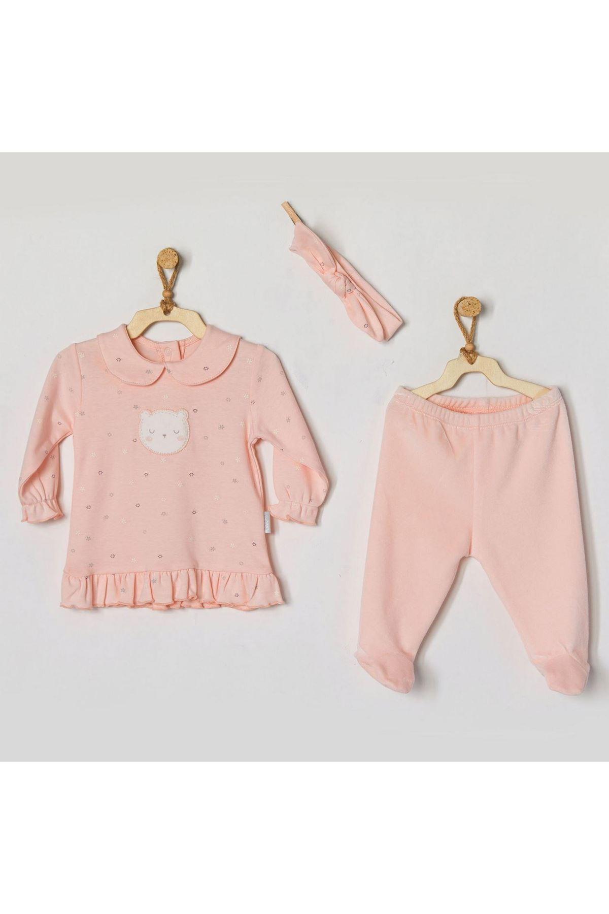 Andywawa AC22124 Home Sweet Home Kadife 3Lü Bebe Takım Pink