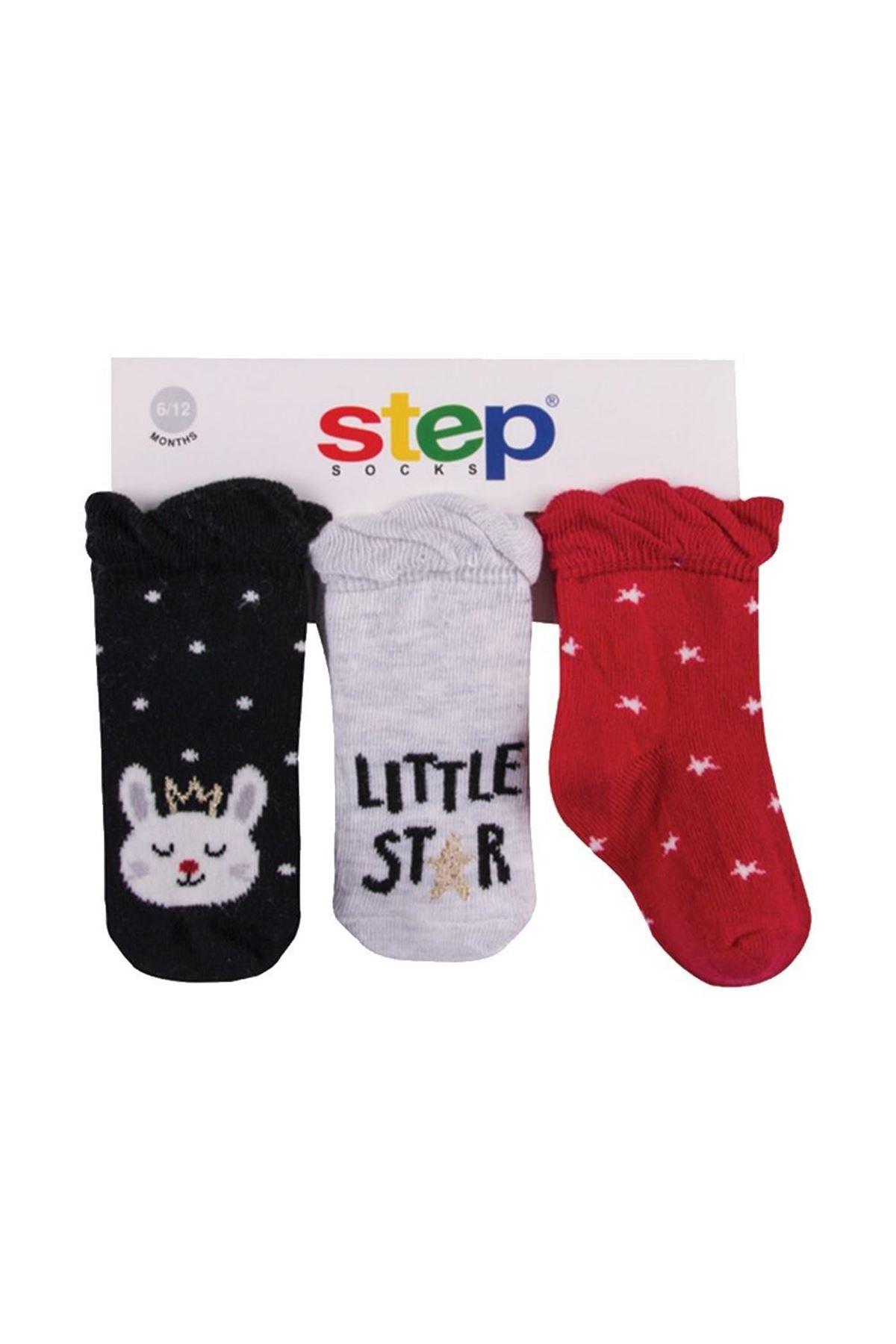 Step 3lü Simli Little Star Soket Çorap 10090 Karışık Renkli