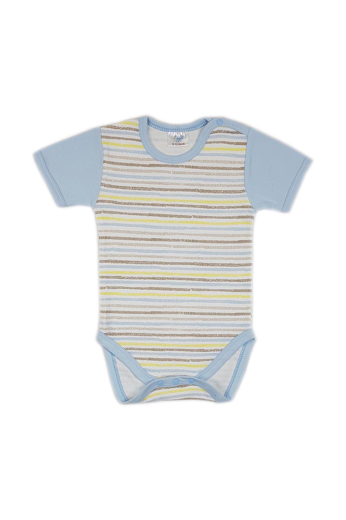 Luggi Baby Funny Kısa Kol  Çizgili Bebek Body LG-5417 Karışık Renkli