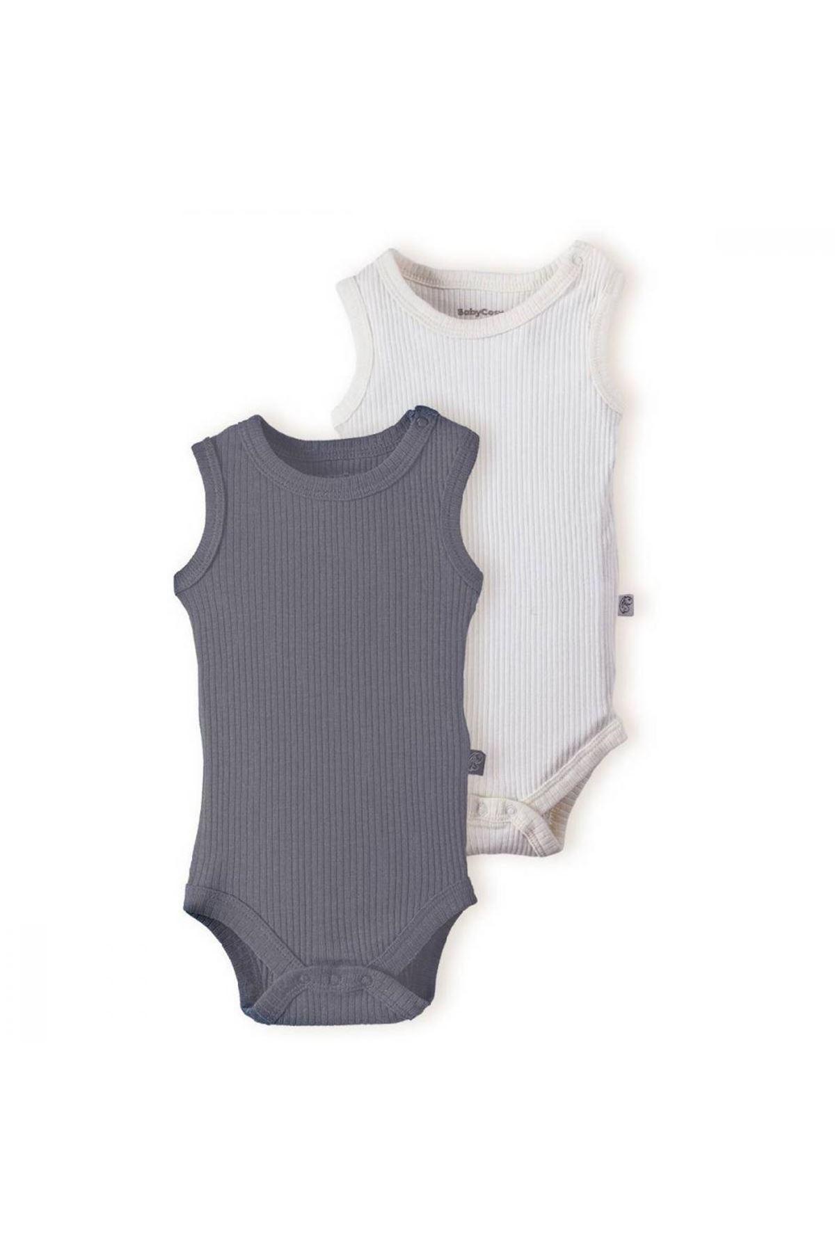 Baby Cosy Organic 2Li Bebek Body 11100 Gri Ekru