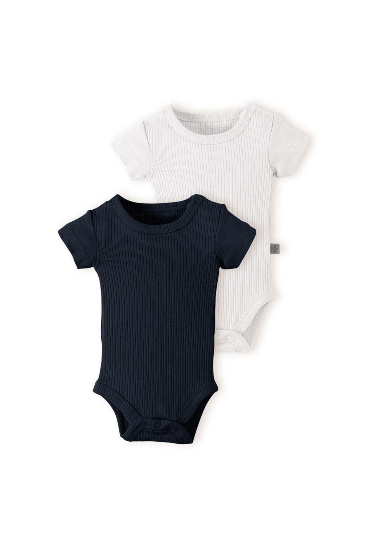 Baby Cosy Organic 2Li Bebek T-şhirt 11201 Black-Ekru