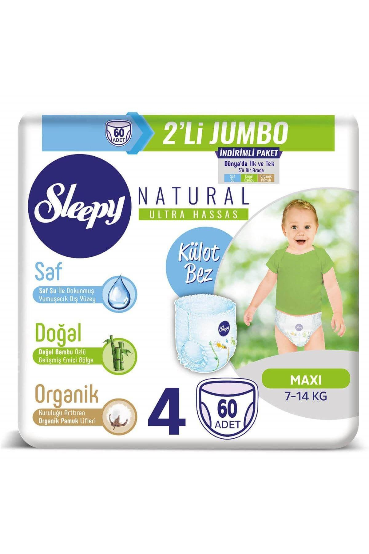 Sleepy Natural Külot Bez 2Li Jumbo 4 Beden 7-14 Kg 60 Adet