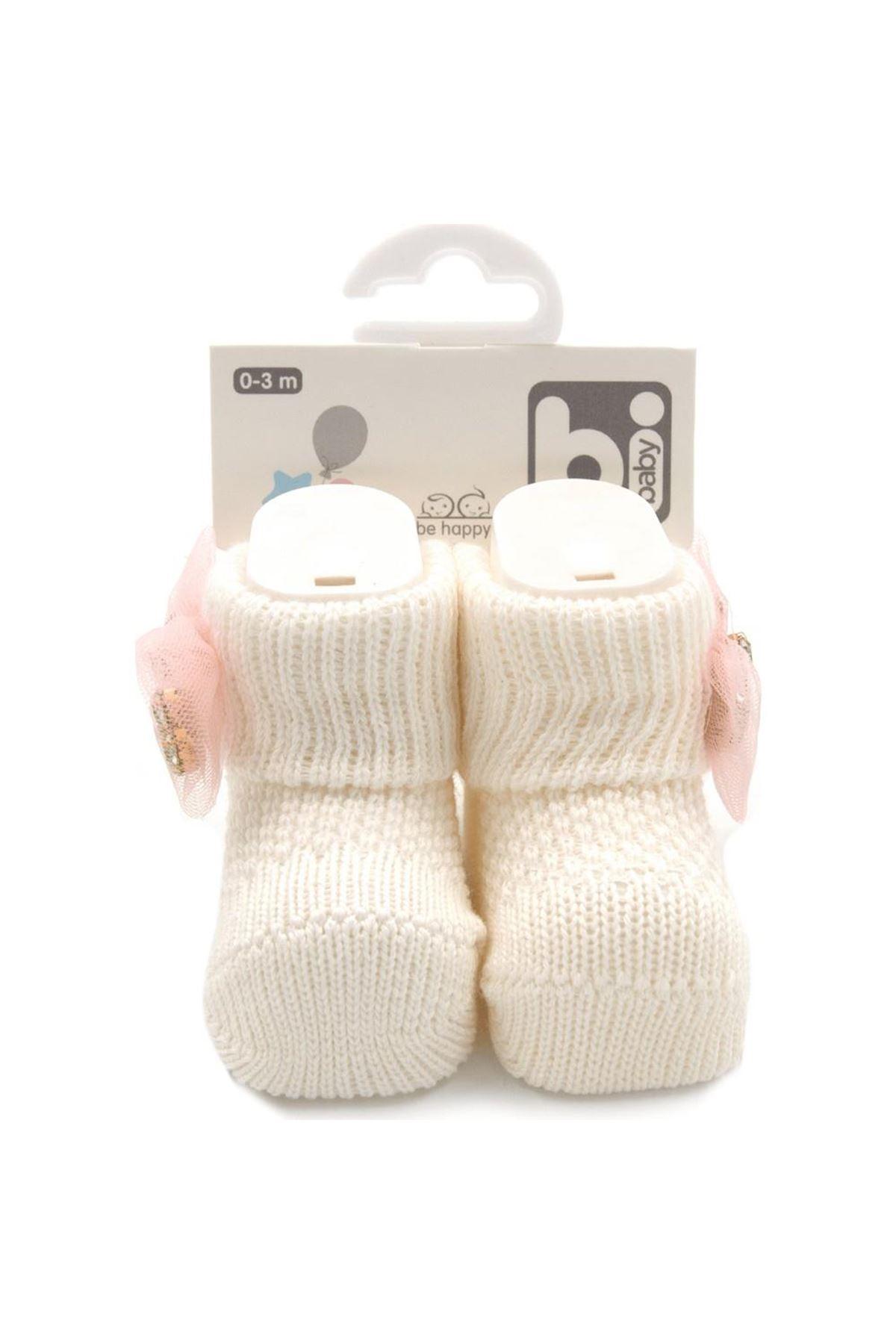 Bibaby Fiyonklu Bebek Çorap 68301 Taş Ekru