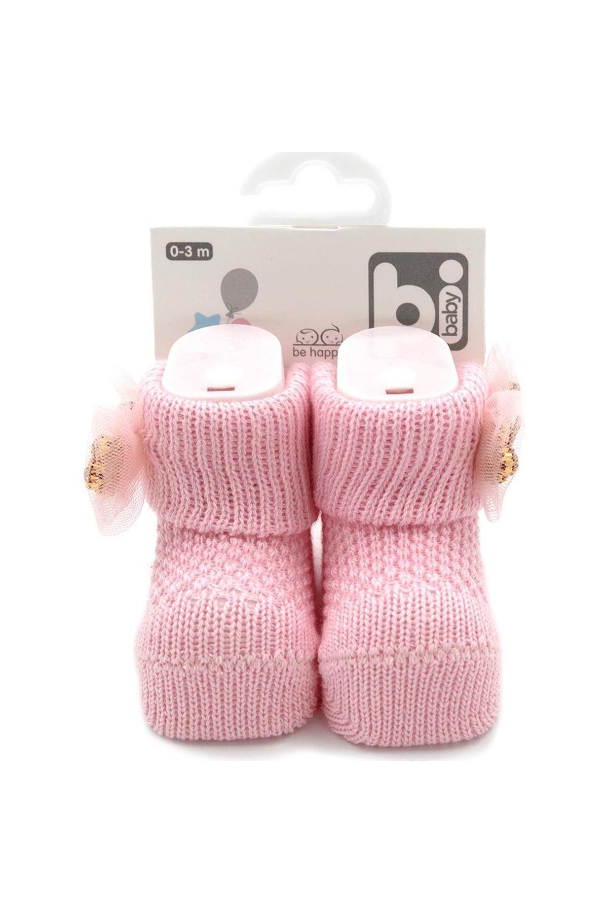 Bibaby Fiyonklu Bebek Çorap 68301 Taş Pembe
