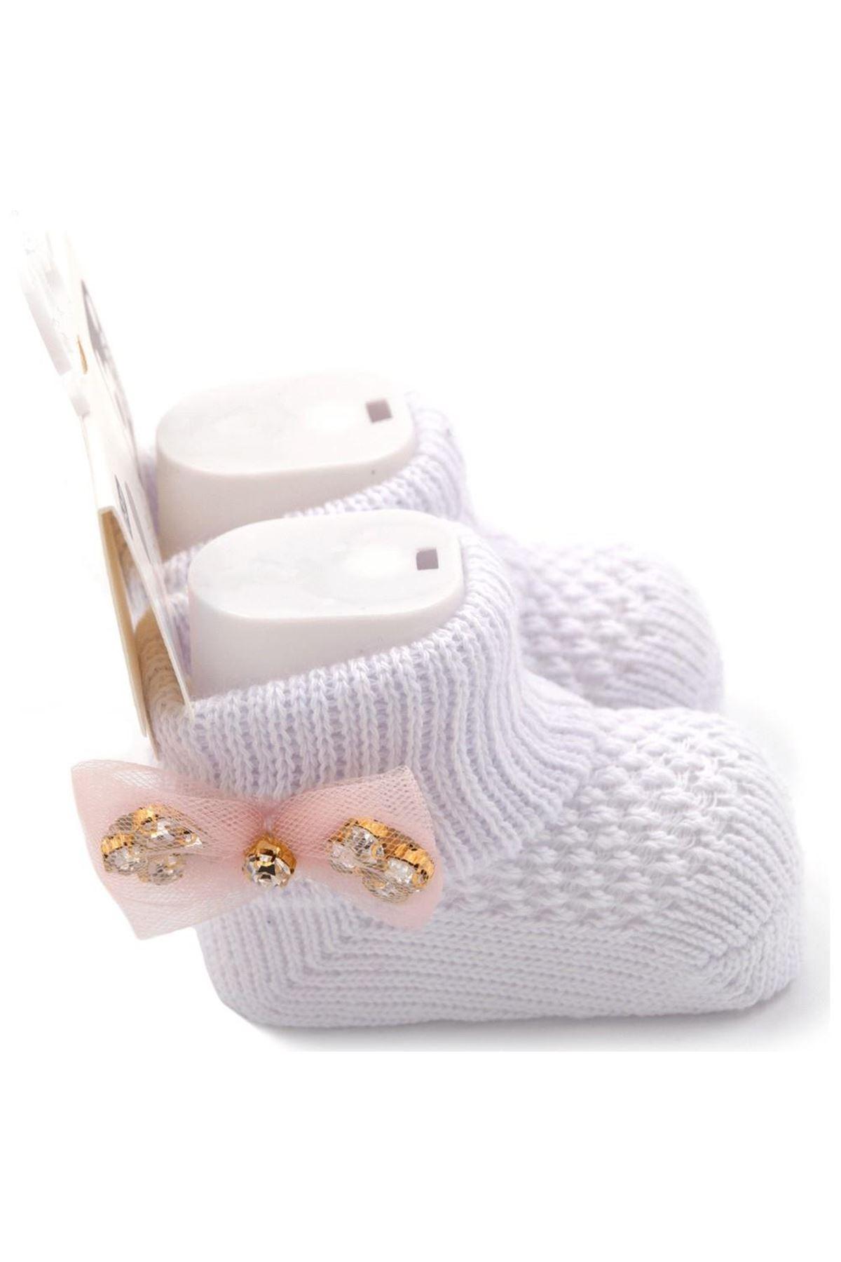 Bibaby Fiyonklu Bebek Çorap 68301 Taş Beyaz