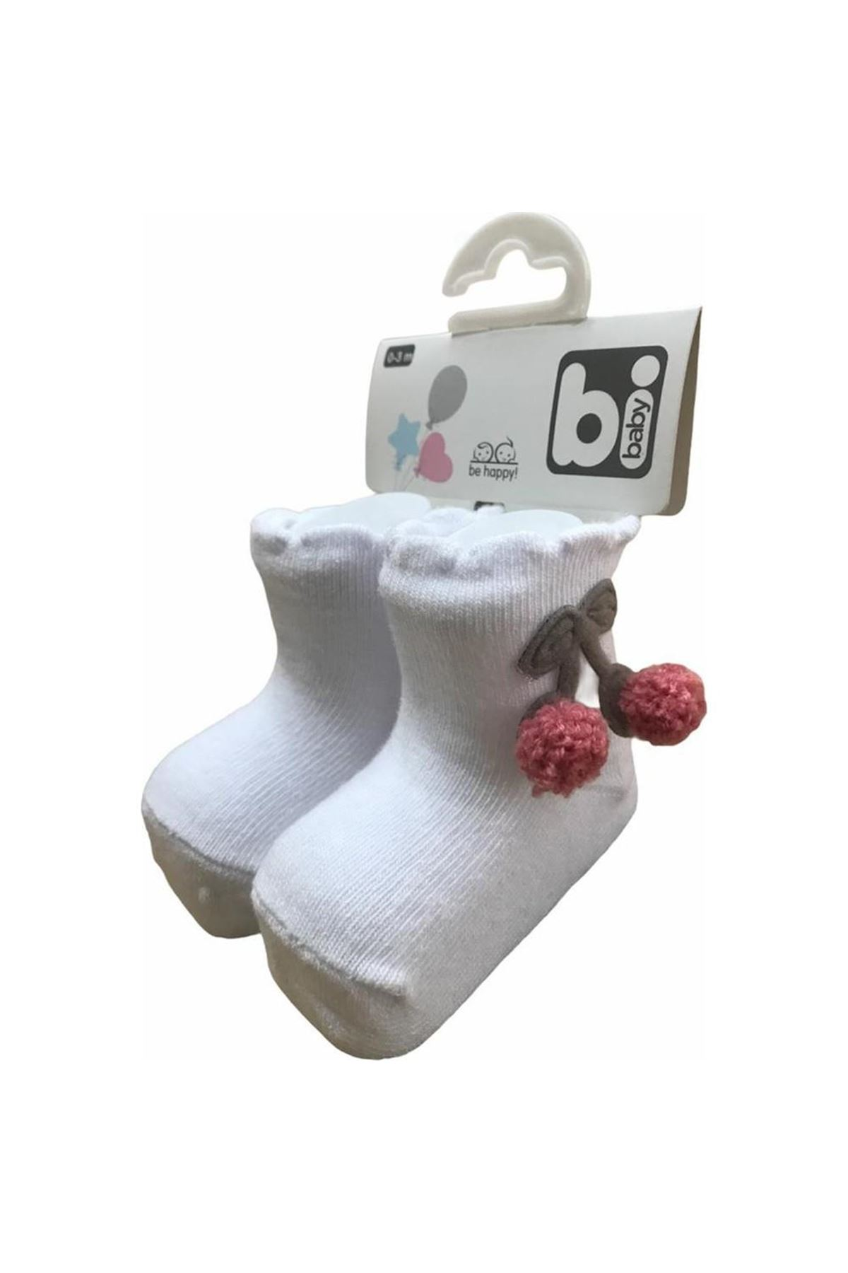 Bibaby Kirazlı Bebek Çorap 68338 Beyaz-Pembe