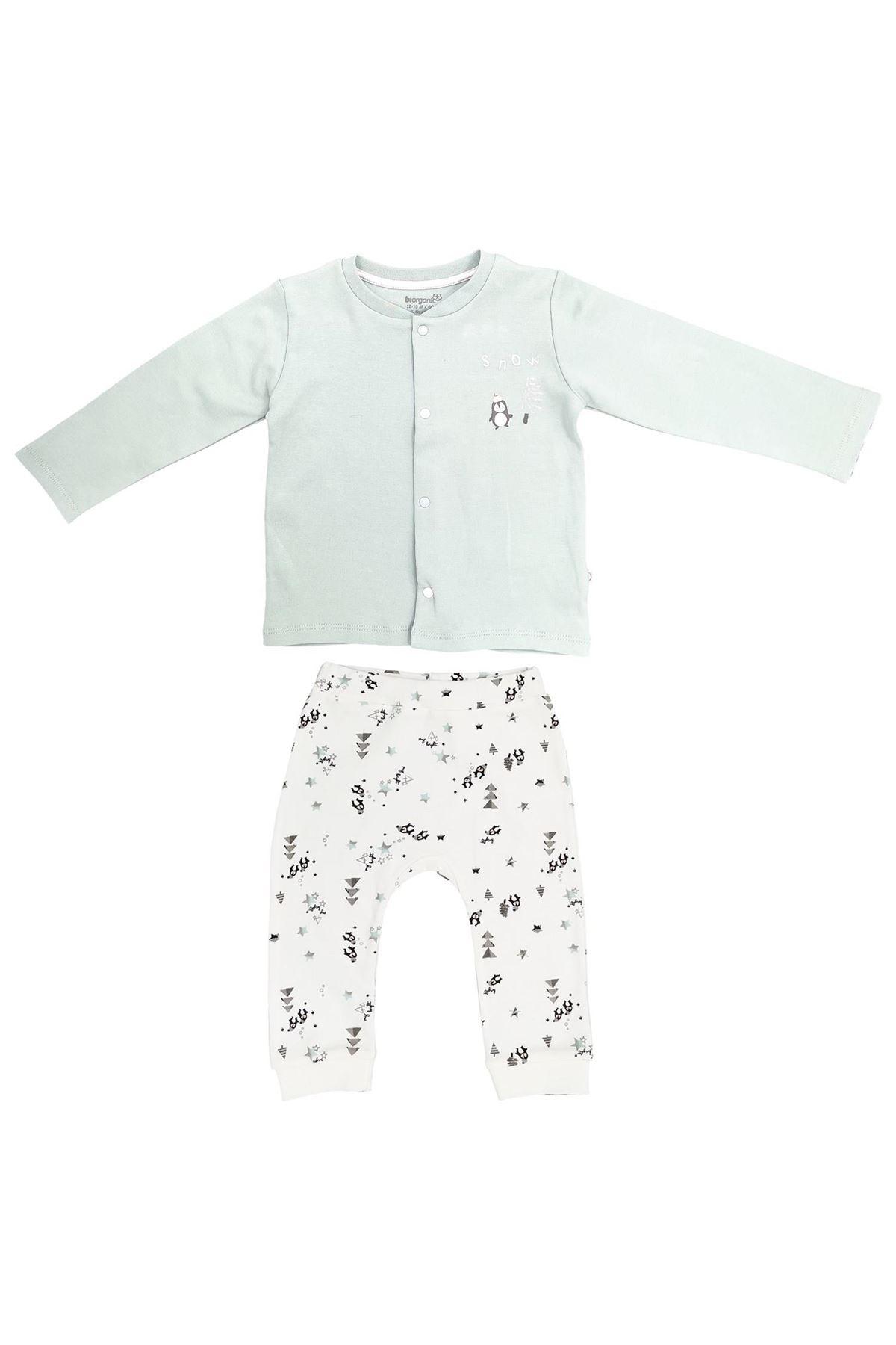 Bibaby Biorganic Frozen Penguıns Pijama Takım 59672 Ekru