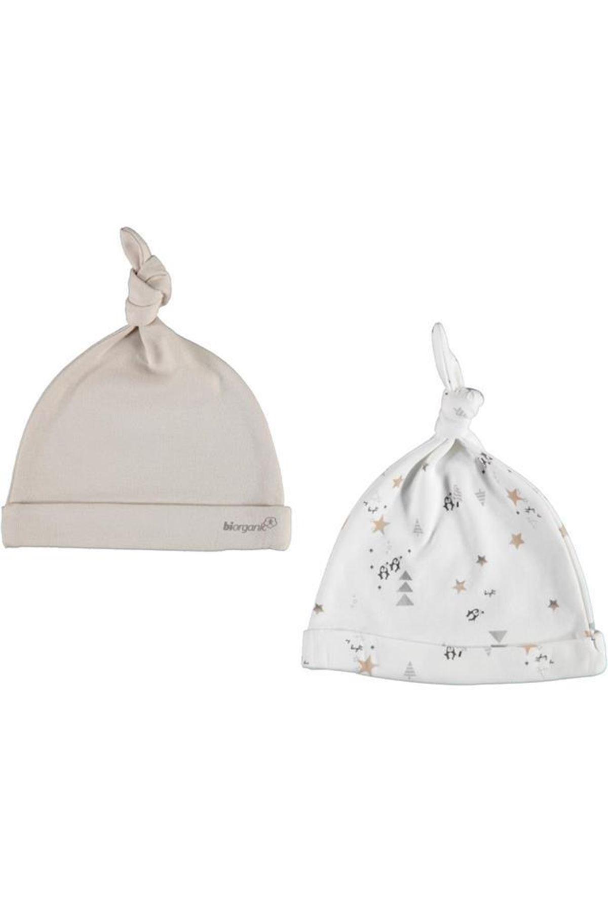 Bibaby Biorganic Frozen Penguıns 2Li Şapka 72130 Bej-Ekru